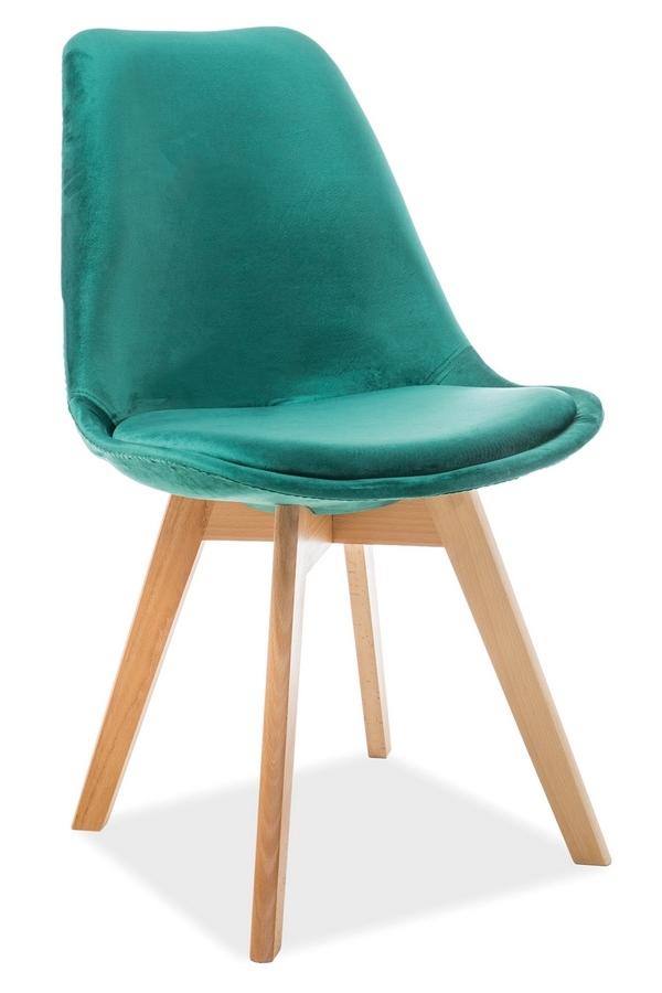 Jedálenská čalúnená stolička DIOR VELVET zelená/buk
