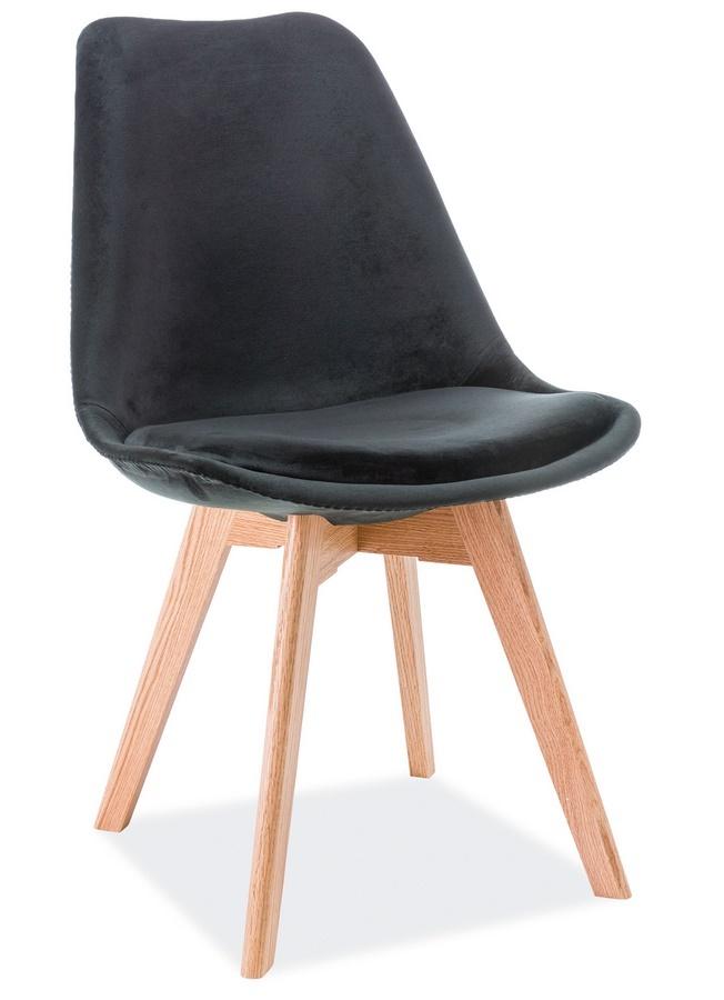 Jedálenská čalúnená stolička DIOR VELVET čierna/dub