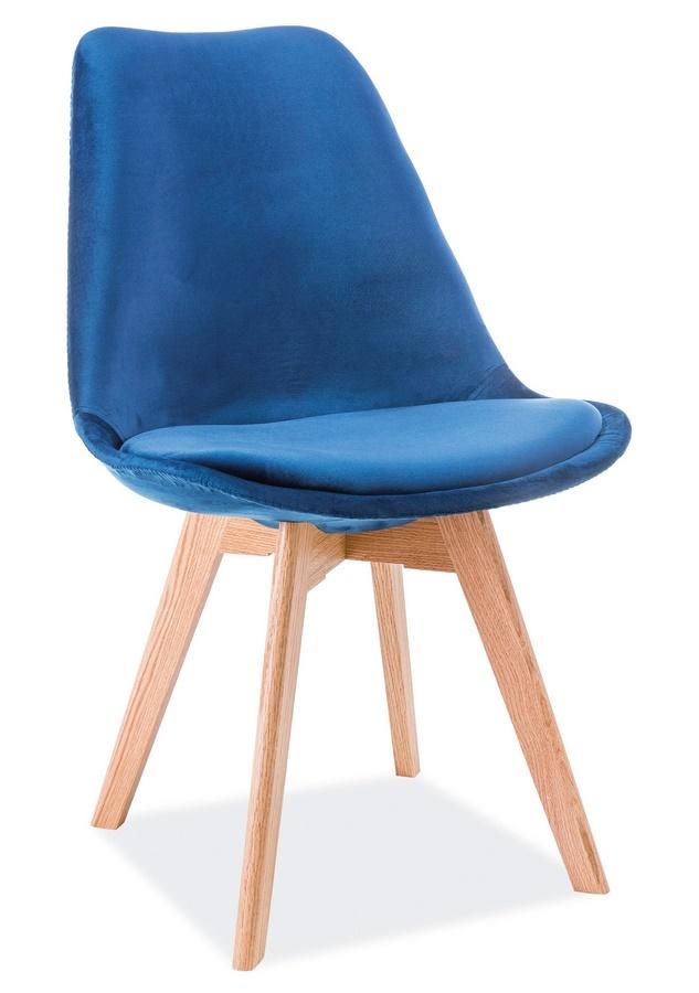Jedálenská čalúnená stolička DIOR VELVET modrá/dub