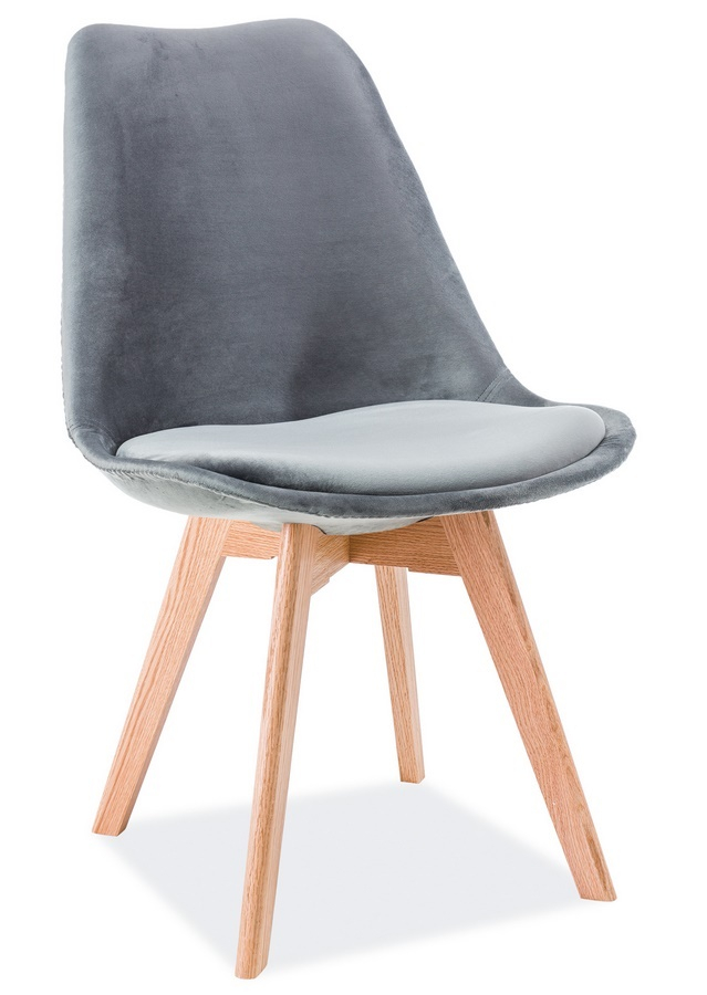 Jedálenská čalúnená stolička DIOR VELVET šedá/dub