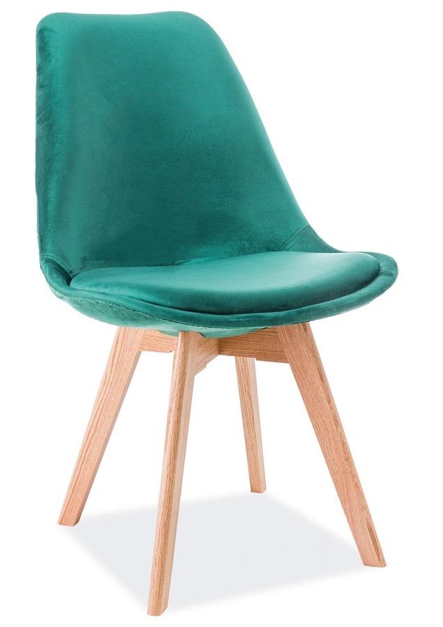 Jedálenská čalúnená stolička DIOR VELVET zelená/dub