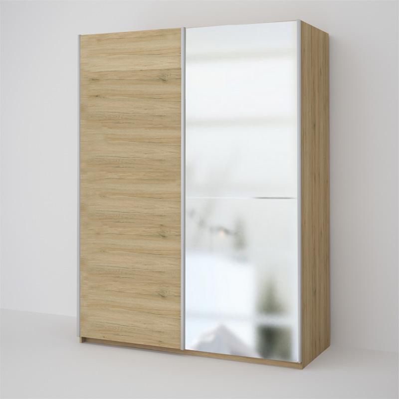 ECO 150 2DL šatníková skriňa so zrkadlom sonoma
