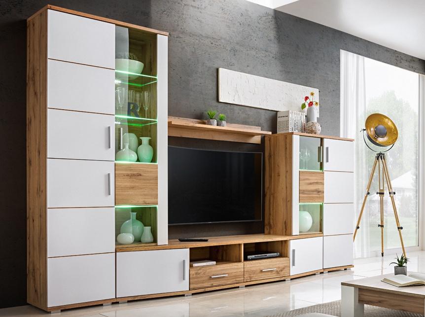 *Obývací stěna ELMA 2 dub wotan/bílá