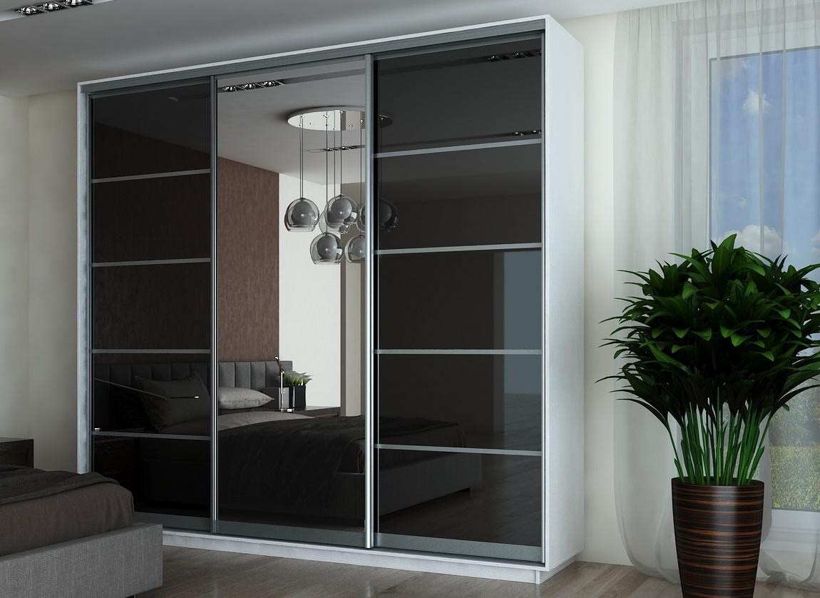 Šatní skříň FALCON 250 bílá/černá/zrcadlo