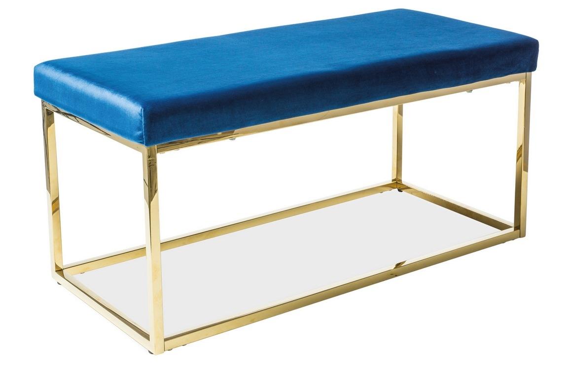 Čalúnená lavica FENDI granátově modrá/zlatá