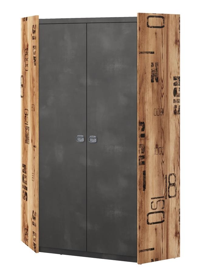 Šatní skříň rohová DRAKE 17 smrk/steel II.jakost