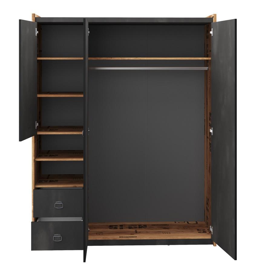 Šatní skříň 3-dveřová DRAKE 01 smrk/steel