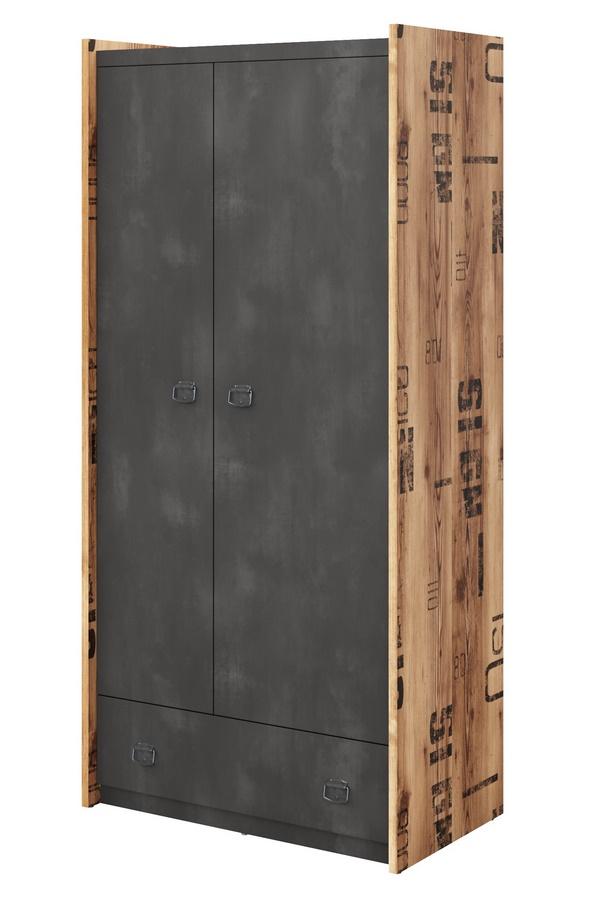 Šatní skříň 2-dveřová DRAKE 02 smrk/steel