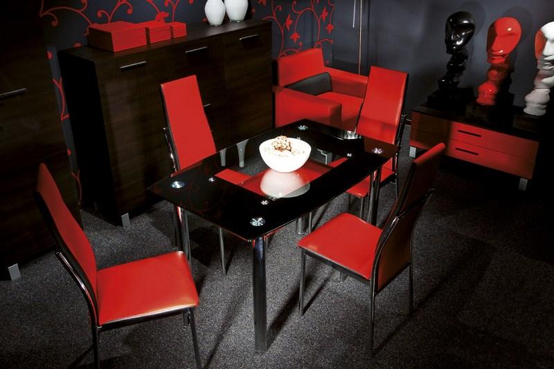 Jedálenský stôl TWIST A červená polička