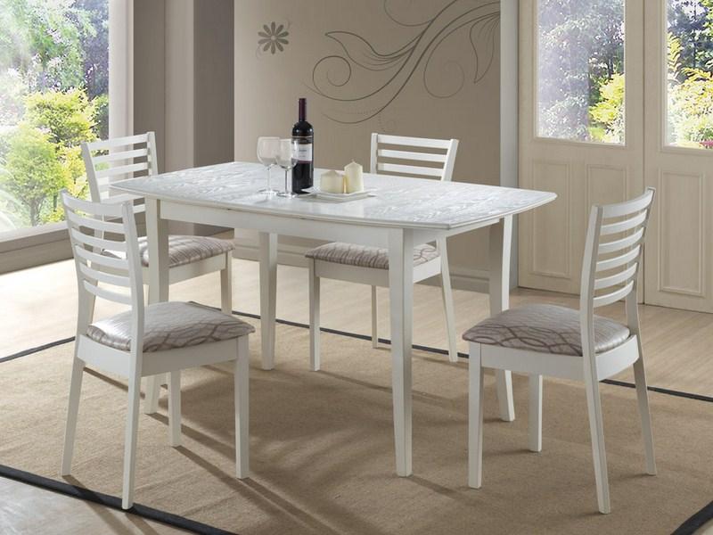 Jedálenský stôl MARTINA Bianco rozkladací