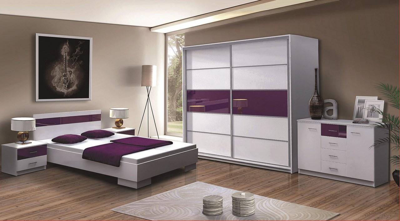 Spálňa DUBAJ F (postel 160, skriňa, komoda, 2 Nočné stolíky)