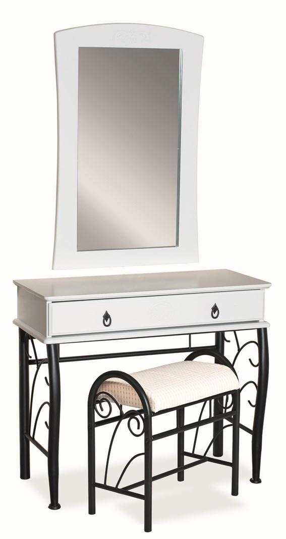 Toaletní stolík 1102 se zrcadlem biela/čierna