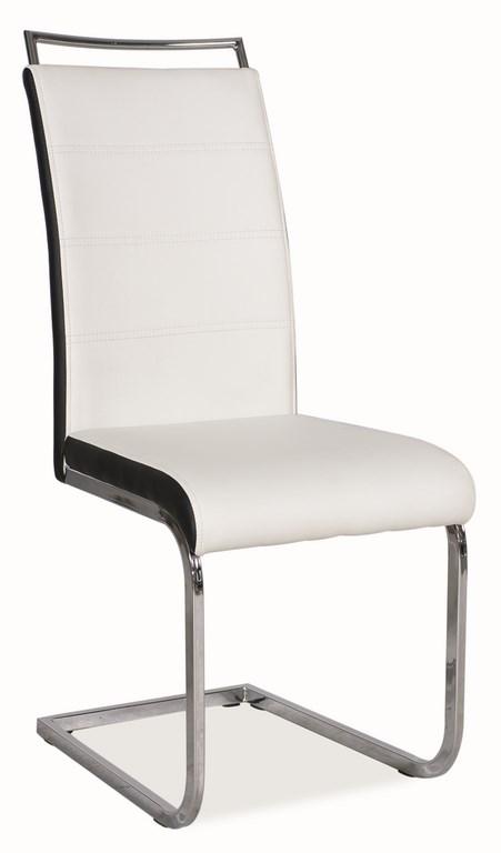 Jedálenská čalúnená stolička H-441 biela/čierna