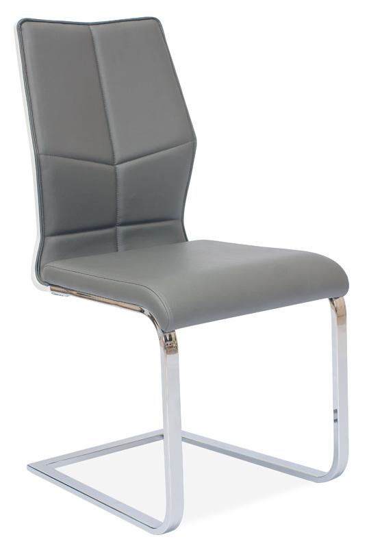 Jedálenská čalúnená stolička H-422 šedá/biely lak