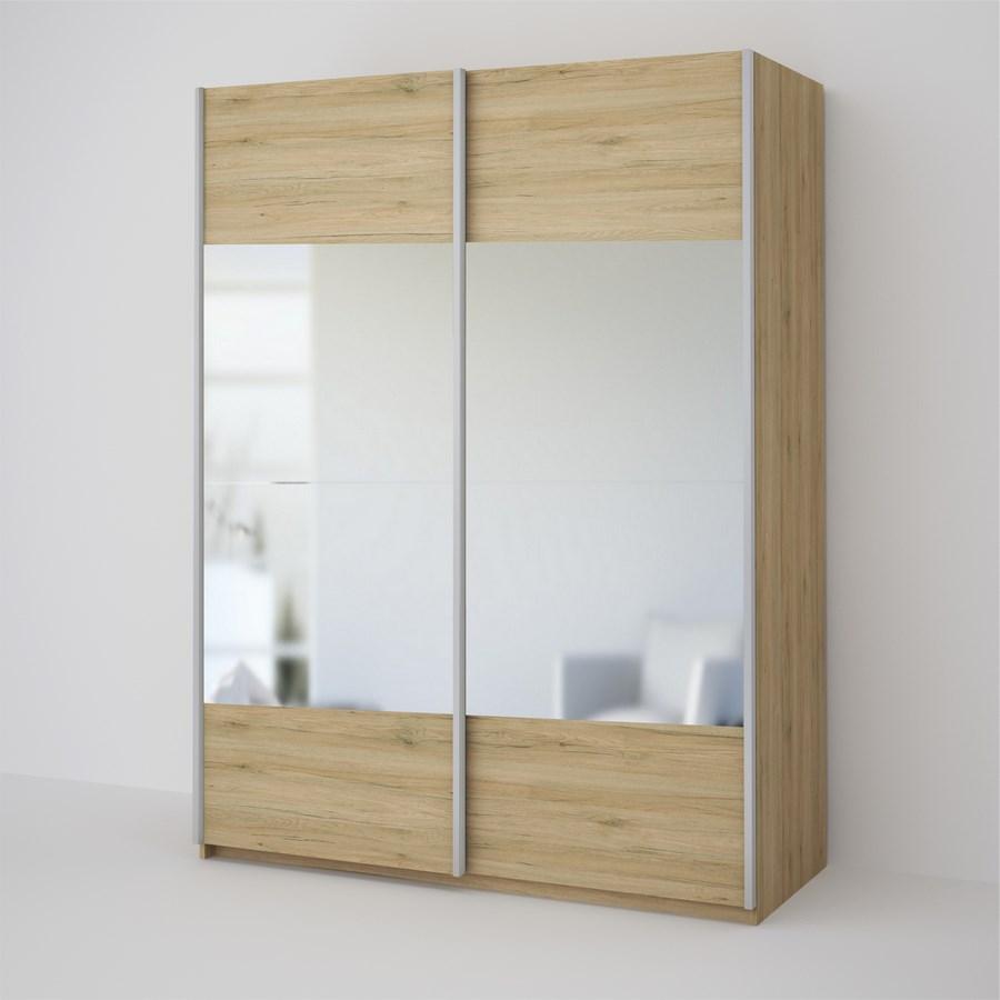 ECO 150 2D2L šatníková skriňa so zrkadlom sonoma