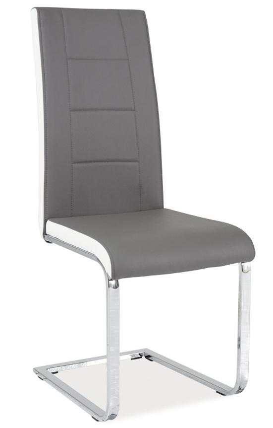 Jedálenská čalúnená stolička H-629 šedá/bílé boky