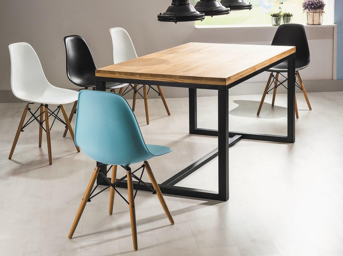 Jedálenský stôl LORAS A 180x90 dub masiv/čierna