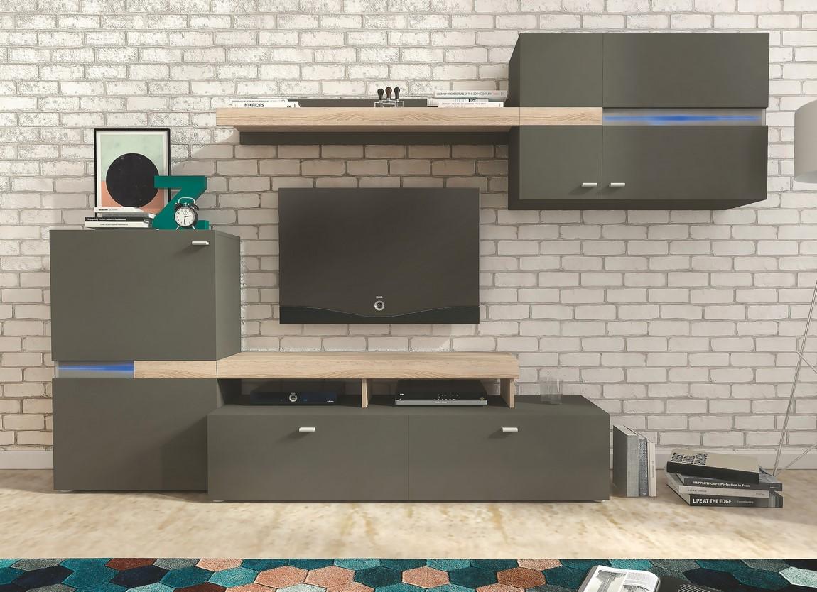 Obývacia stena JET grafit/sonoma