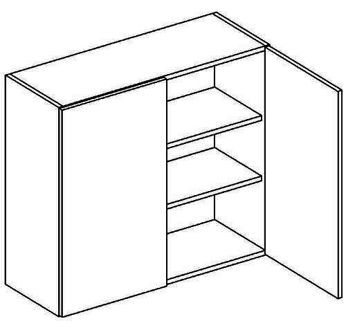 W80 h. skříňka 2-dveřová PAULA šedá/mat. šedá