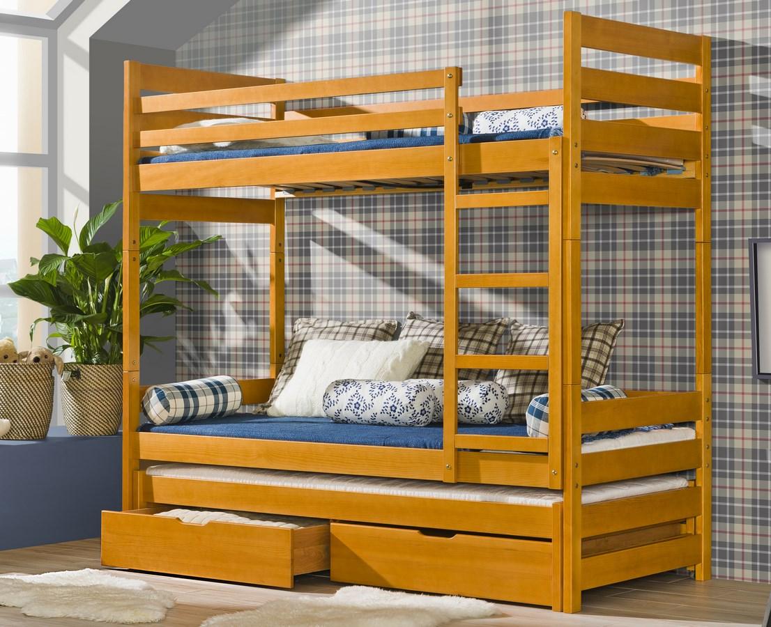 Dětská postel FILIP poschoďová s přistýlkou