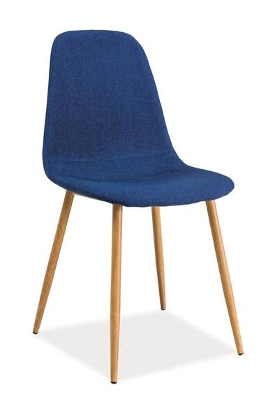 Jedálenská čalúnená stolička FOX modrá/dub