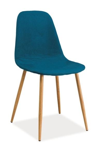 Jedálenská čalúnená stolička FOX modrozelená/dub