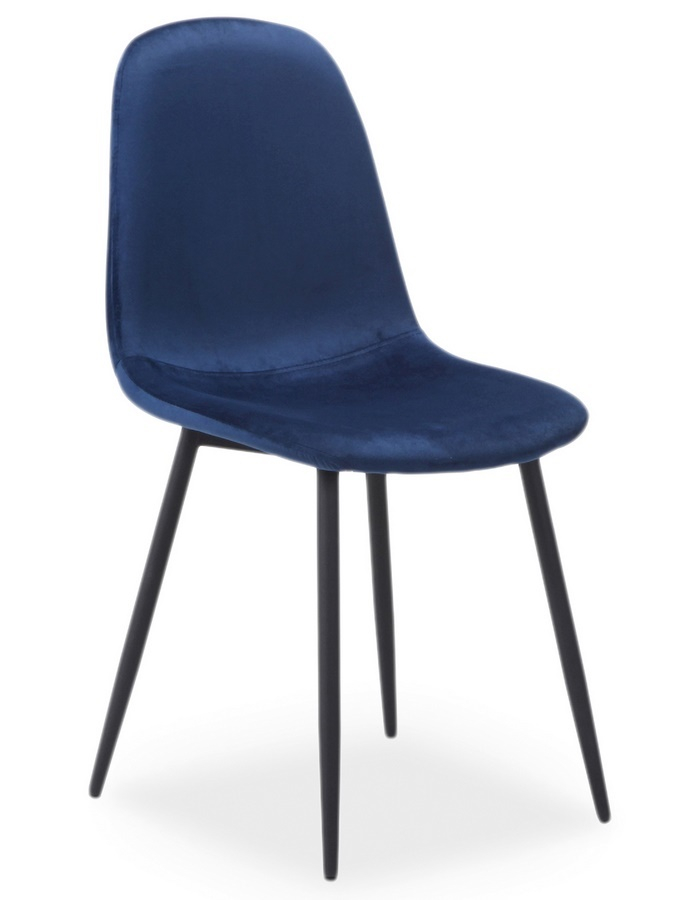 Jedálenská čalúnená stolička FOX VELVET modrá/čierna