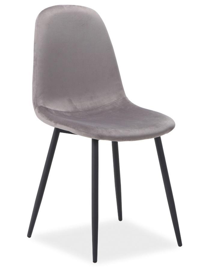Jedálenská čalúnená stolička FOX VELVET šedá/čierna