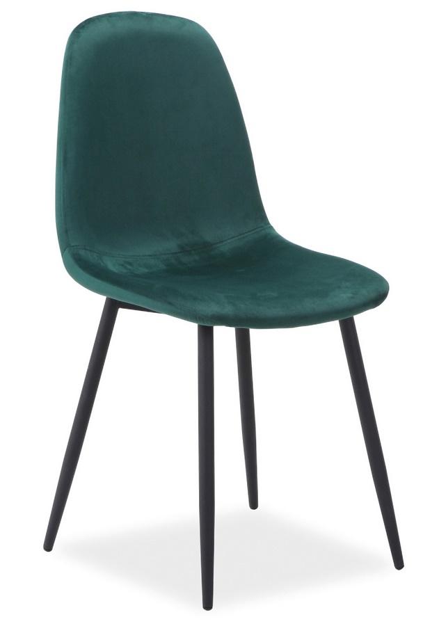 Jedálenská čalúnená stolička FOX VELVET zelená/čierna