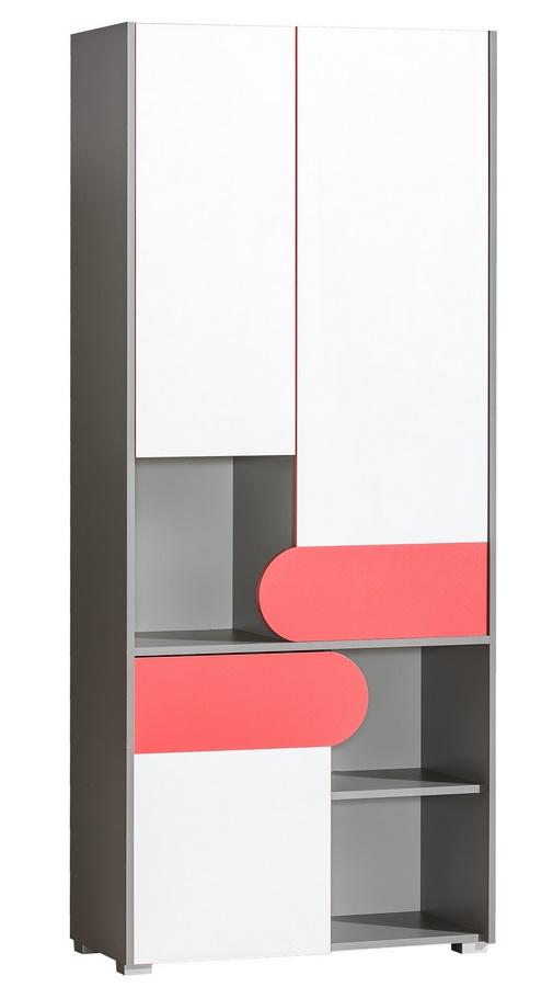 FUTURO F2 šatníková Skriňa s regálom grafit/biela/viac farieb
