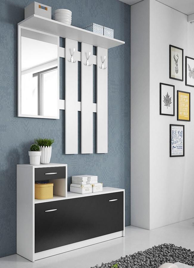 Predsieňová stena RUDOLF biela/černá
