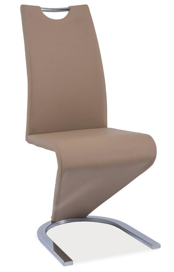 Jídelní čalouněná židle H-090 tmavě béžová/chrom