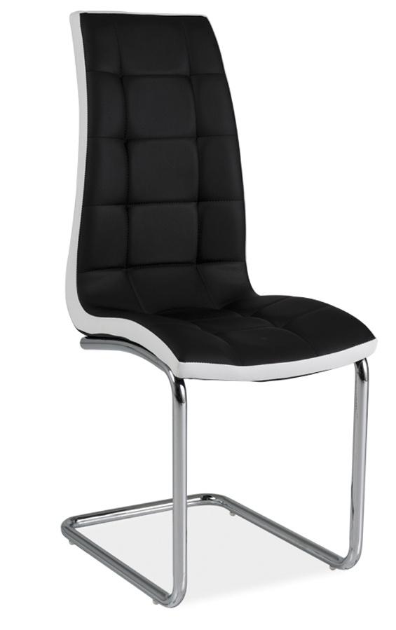 Jedálenská čalúnená stolička H-103 čierna/biela