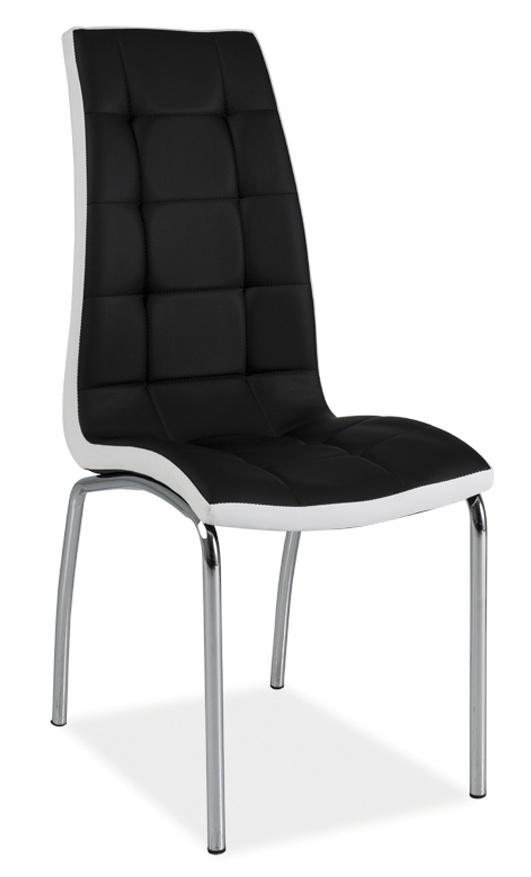 Jedálenská čalúnená stolička H-104 čierna/biela