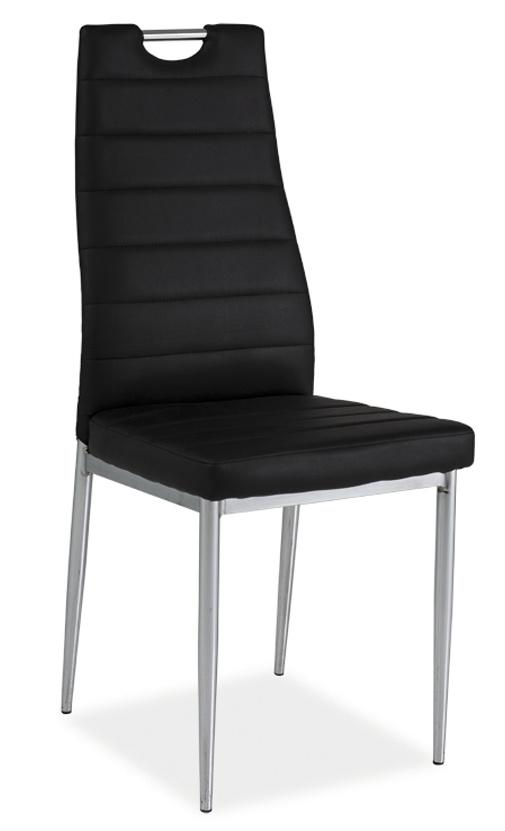 Jedálenská čalúnená stolička H-260 čierna/chrom