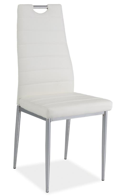 Jedálenská čalúnená stolička H-260 biela/chrom