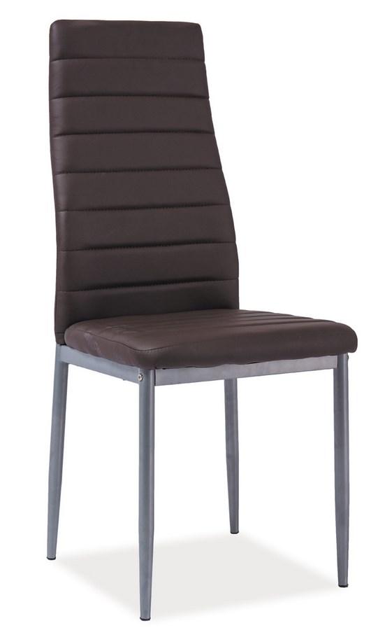 Jedálenská čalúnená stolička H-261 Bis hnedá/alu