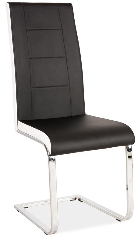 Jedálenská čalúnená stolička H-629 čierna/bílé boky