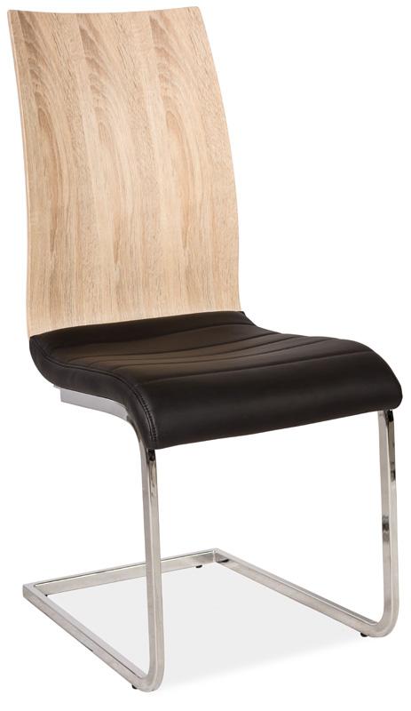 Jedálenská čalúnená stolička H-791 čierna/dub sonoma