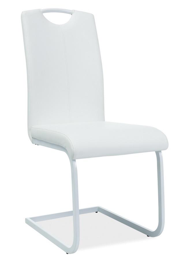 Jedálenská čalúnená stolička H-148 biela/biela