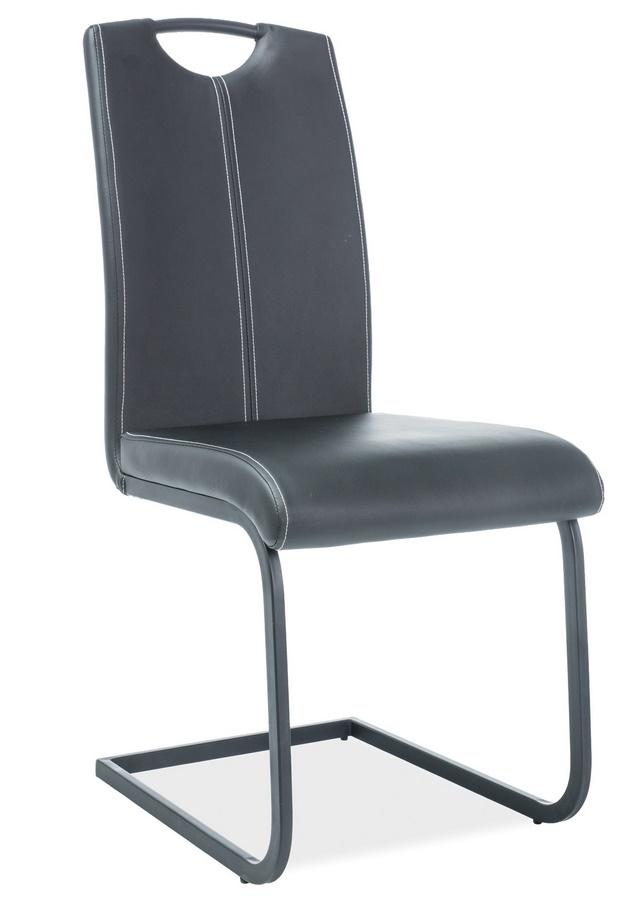 Jedálenská čalúnená stolička H-148 čierna/čierna