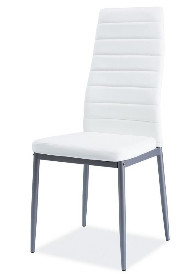 **Jídelní čalouněná židle H-261 Bis bílá/alu
