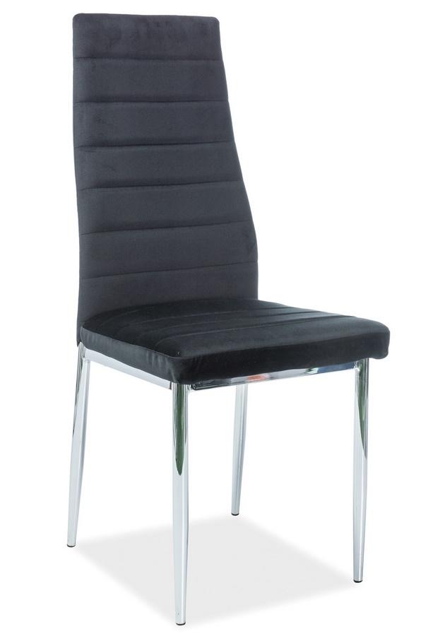 Jedálenská čalúnená stolička H-261 VELVET čierna