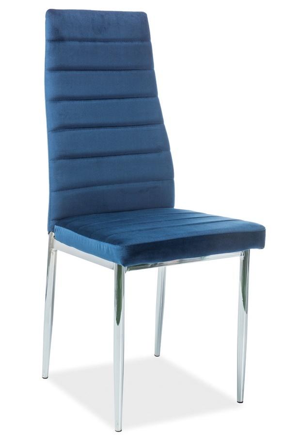 Jedálenská čalúnená stolička H-261 VELVET modrá