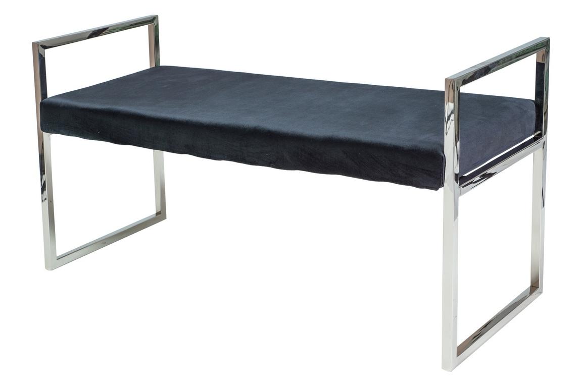 Čalouněná lavice HERMES černá látka/chrom