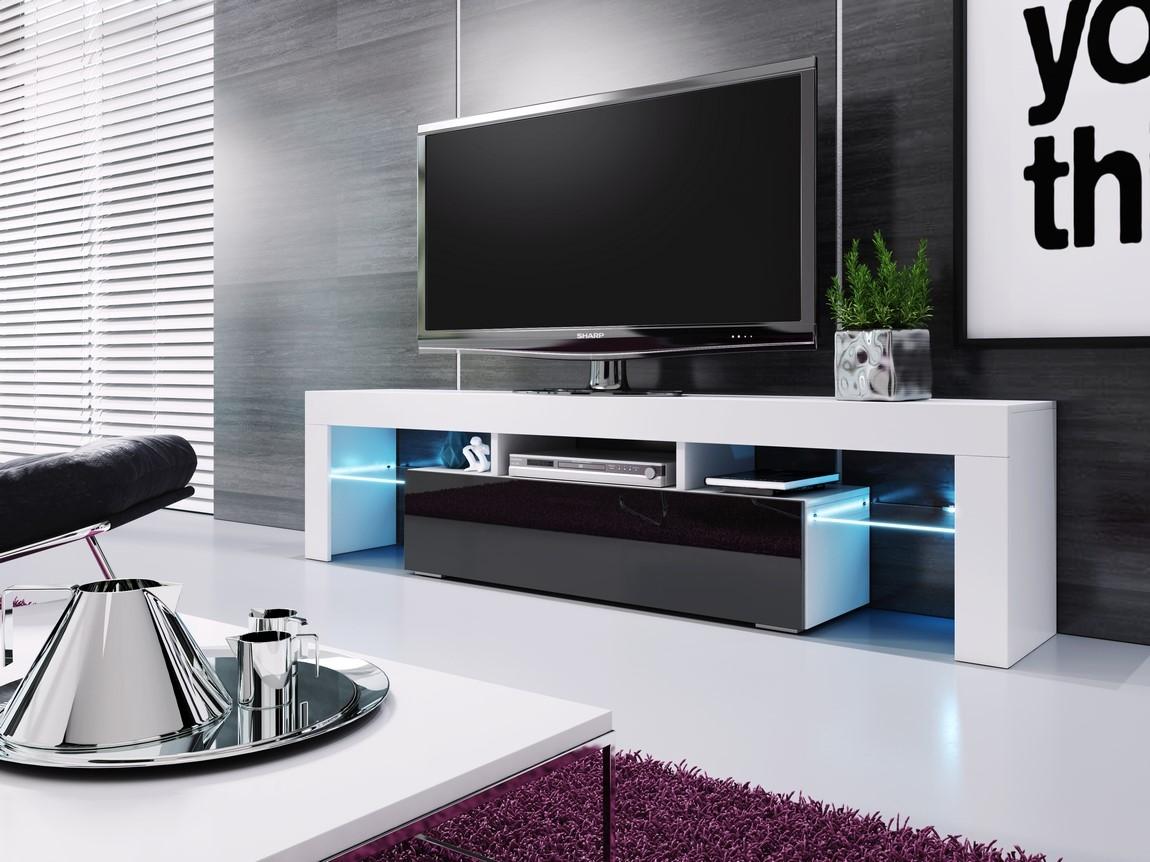 TV stolík VERA MINI biela/černá vysoký lesk