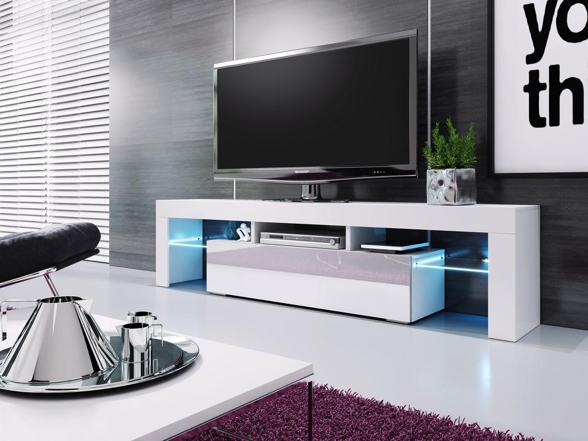 TV stolík VERA MINI biela/biela vysoký lesk
