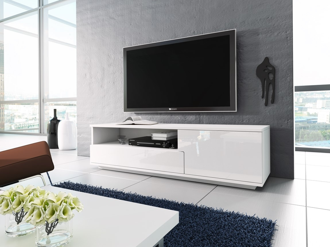 TV stolík RTV 2 biela/biela lesk