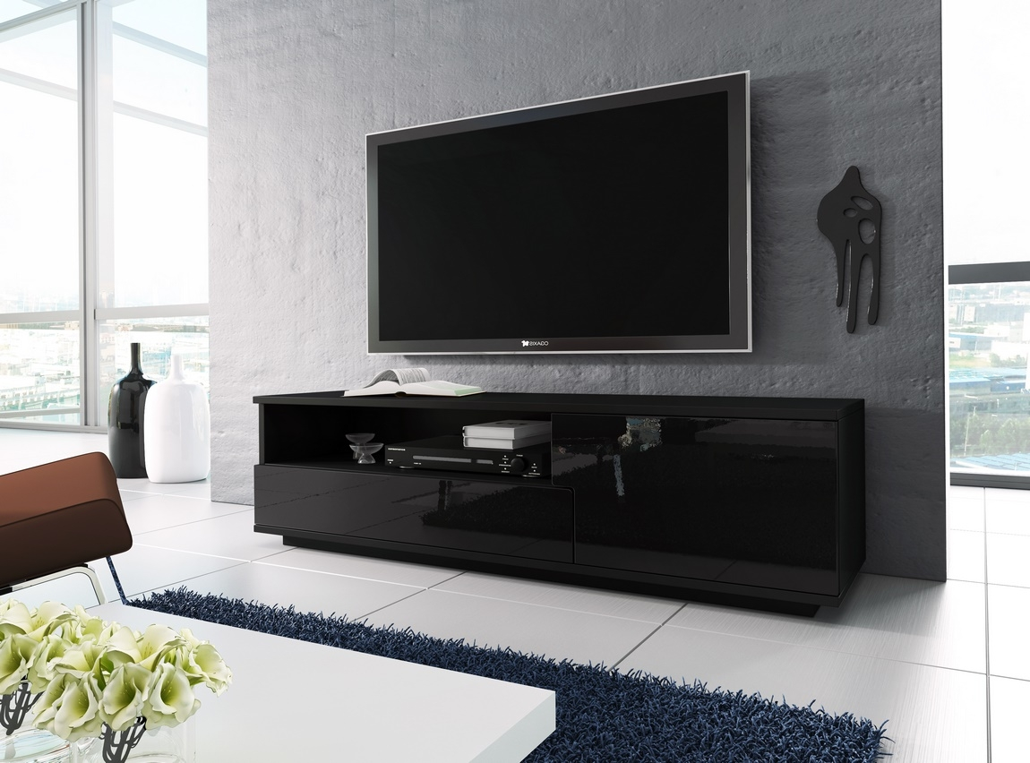 TV stolík RTV 2 černá/černá lesk