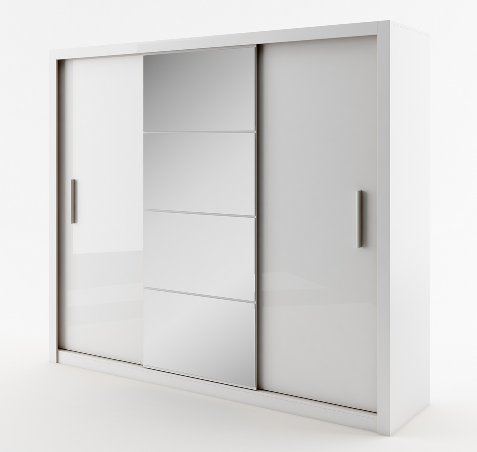 šatníková skriňa IDEA 01 biela zrkadlo 250 cm